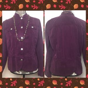 Woman's PM Coldwater Creek Purple Peplum Jacket